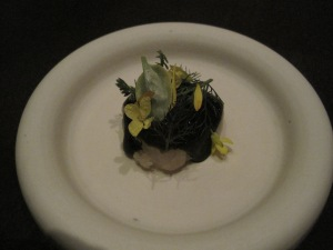 Fluke with warm bbq'd onion and emerald lettuce.
