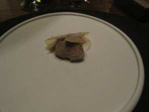 A terrible pic of the cerleriac with mushroom meringue.
