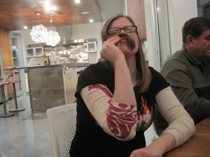 "Sadly, despite her ""facial hair"" my s.i.l. was not eligible for the Annual Beard Carving event. Sweet stache sistah!"