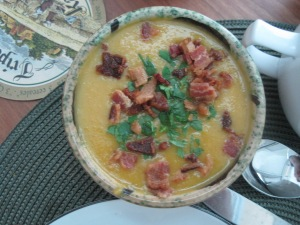Their soup: pumpkin with egg nog, bacon and fresh herbs.