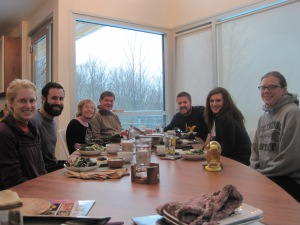 Festivus dinner time! Note the enormous beards on N and b.i.l.