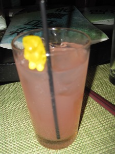Of course I went for the pink citrusy drink with the gummy bear.